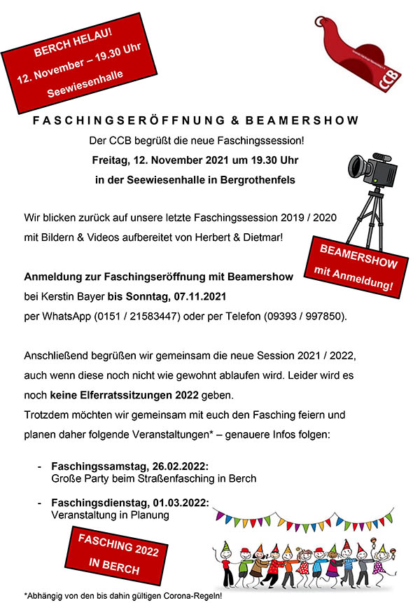 Faschingseröffnung und Beamershow @ Seewiesenhalle Bergrothenfels